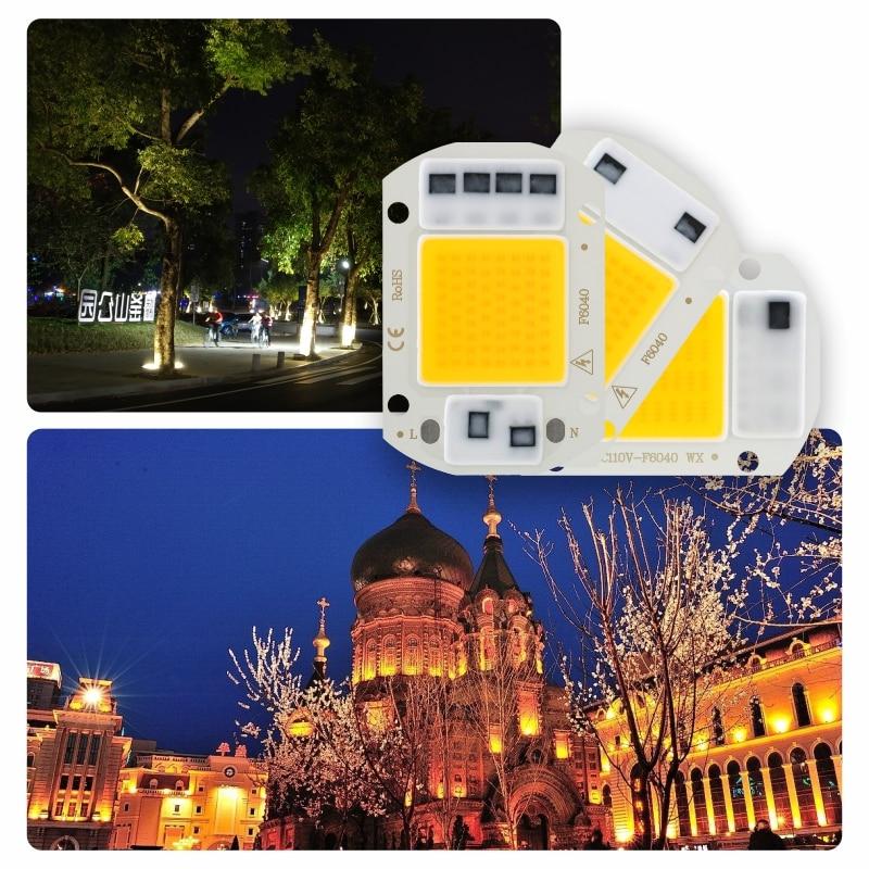 Светодиодный чип COB 10 Вт 20 Вт 30 Вт 50 Вт 220 В Smart IC без необходимости драйвера 3 Вт 5 Вт 7 Вт 9 Вт Светодиодный светильник для прожектора Точечный с...