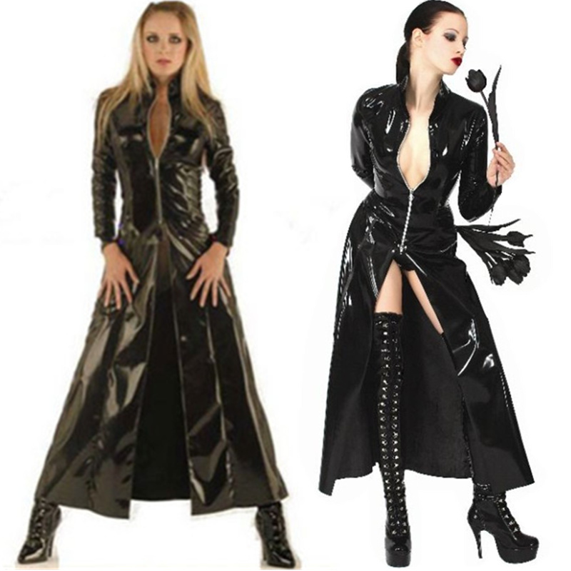 Hot Selling Plus Size Leather PU Wet Look Coat Women Black Full Length Coat Long Gown Coat