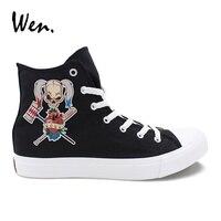 Wen Original Design Sport Baseball Bat Skull Girl Black Vulcanize Shoes Casual Female Flat High Top White Canvas Male Sneakers