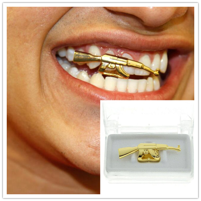 Hip Hop Gold Sliver AK47 Gun Teeth Grills Top Grills Dental Mouth Punk Fake Tooth Caps Cosplay Party Tooth Rock Rapper Body Jewe