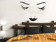 Fashion Beautiful Girls Face Wall Decal Makeup Woman Beauty Salon Stickers Sexy Lips Eyes Cosmetic Houseware Home DIYSYY688
