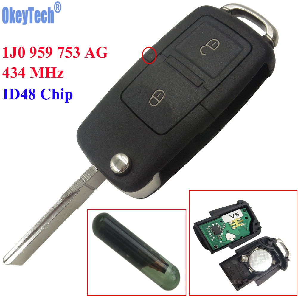 OkeyTech 2 Buttons Flip Remote Key Fob Case 434MHz ID48 Chip For VW Beetle Bora Golf Passat Polo Transporter T5 1J0 959 753 AG|chip id48|chip t5|chips case - title=