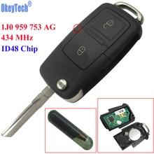 OkeyTech 2 Buttons Flip Remote Key Fob Case 434MHz ID48 Chip For VW Beetle Bora Golf Passat Polo Transporter T5 1J0 959 753 AG