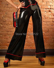 Women Casual Clothes Latex Trousers Black Rubber Leggings With Red Trim For Adults Plus Size Hot Sale Customize service