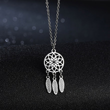 Rinhoo Stainless Steel Necklaces For Women Men Lover's Dream Catcher Lotus Silver Color Pendant Necklace Engagement Jewelry Gift