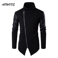 AOWOFS Mens Hoodies Sweatshirts Black Cotton Pullover Hip Hop Fashion Streetwear Leather Patchwork Sleeve Knitwear Autumn
