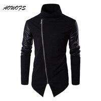 AOWOFS Mens Hoodies Sweatshirts Black Cotton Pullover Hip Hop Fashion Streetwear Leather Patchwork Sleeve Knitwear Autumn