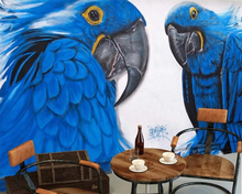 купить Beibehang 3d wallpaper Hand-painted graffiti blue parrot bar KTV background wall paper home decor living room bedroom mural дешево