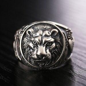 Image 4 - ZABRA 100% naprawdę twarde 925 srebrny pierścień mężczyzna lew pierścień w stylu Vintage Steampunk Retro Biker mężczyzna srebro biżuteria Anel Masculino