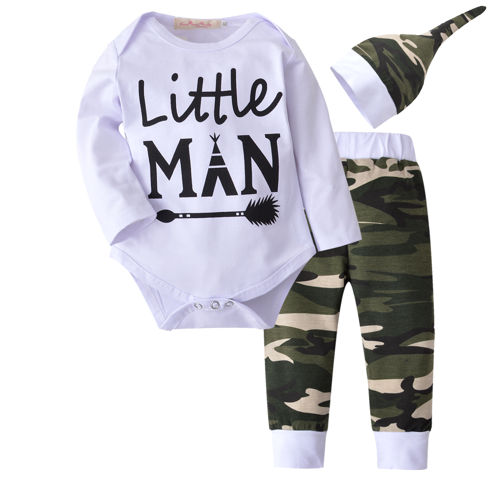 8fbbe221202 Best buy Spring Autumn 3Pcs Newborn Baby Boys Little Man Long Sleeve Romper  + Camouflage Pants Hat Outfits Set Clothes online cheap