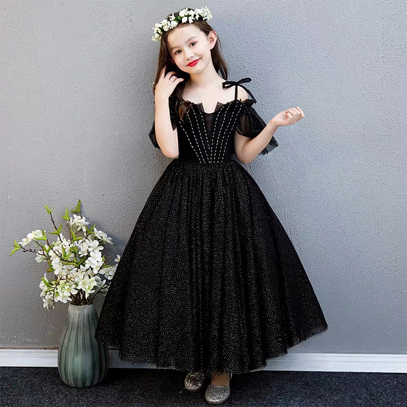 Children Girls Black Color Fashion Evening Holiday Party Ball Prom Formal Long Dress Clothes Kids Host Piano Costume Model DressChildren Girls Black Color Fashion Evening Holiday Party Ball Prom Formal Long Dress Clothes Kids Host Piano Costume Model Dress