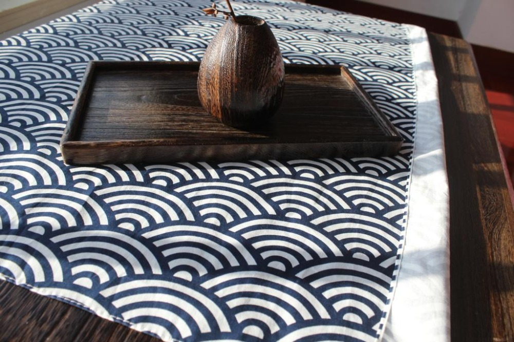 Japanese Style Table Cloth Cotton 100% / Furoshiki Japan Classic Tradition Waves Clouds Grid Printed 78cm / Many Uses