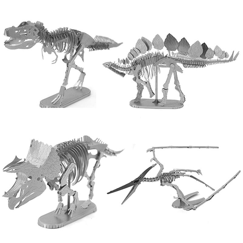 Diy Puzzle 3d Metal Model Tyrannosaurus Rex Skeletontriceratops