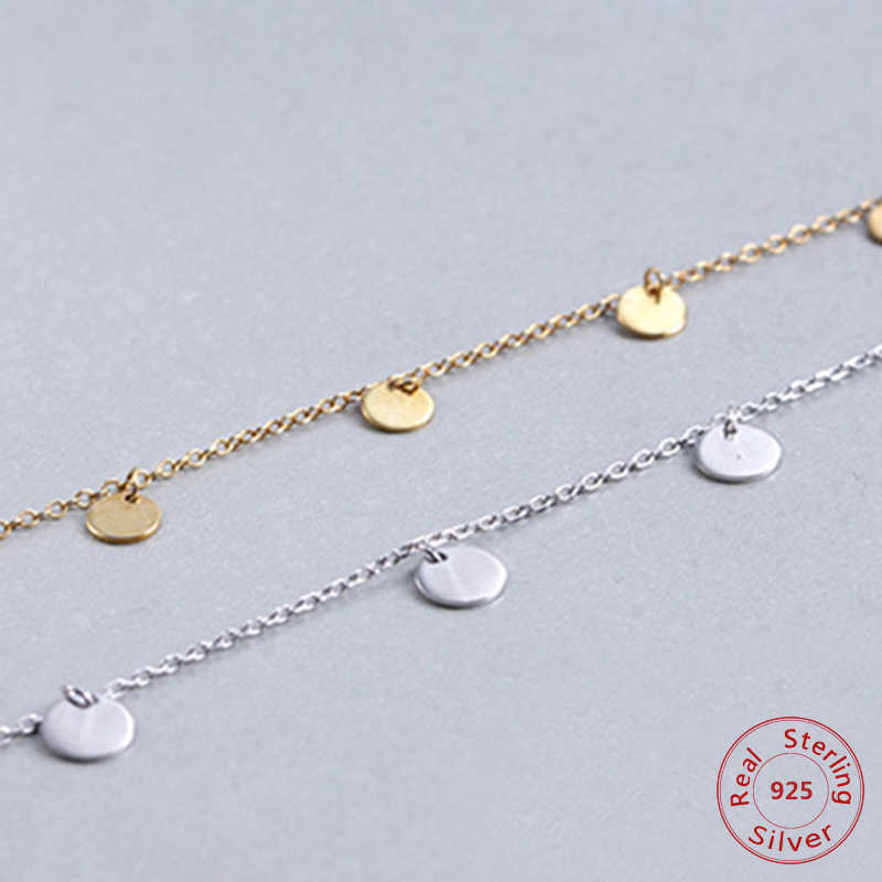 Round choker Necklace link Chain party Small Circle Charm for Women Rose Gold Fashion 925-sterling-silver Jewelry gift