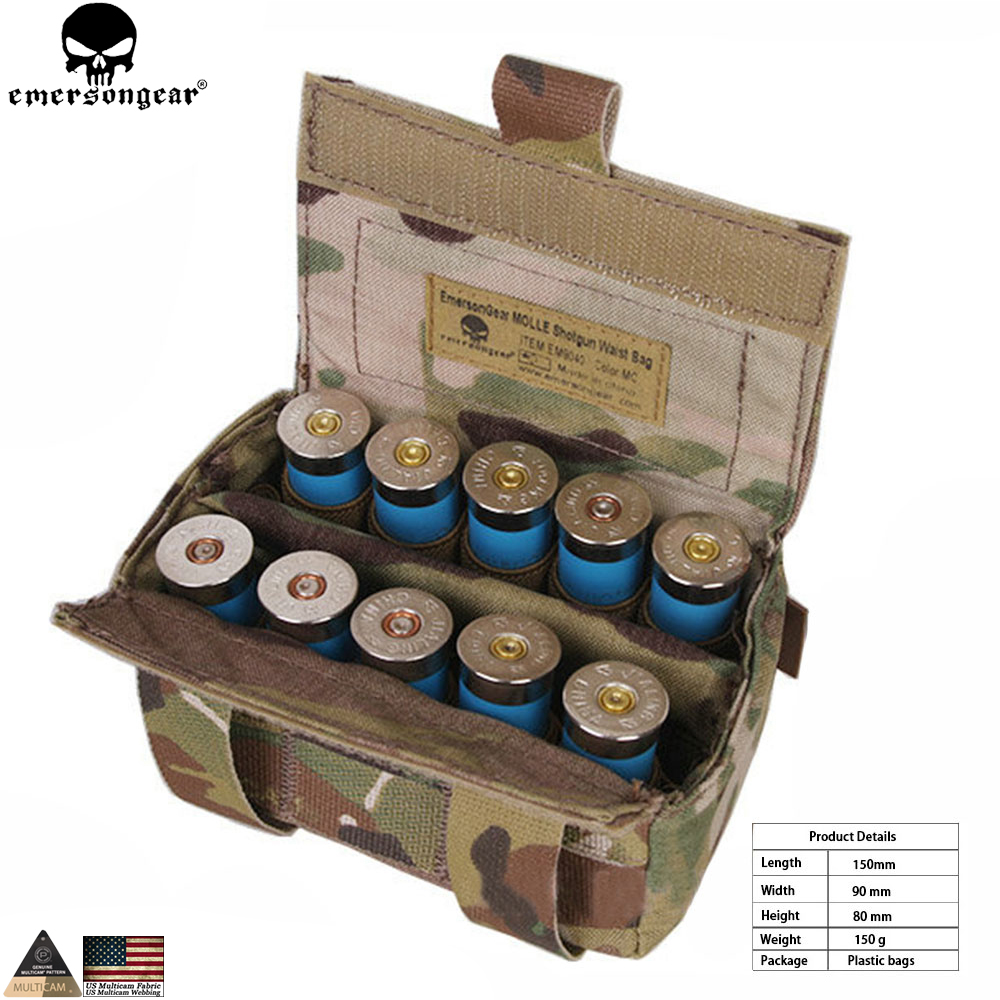 EMERSONGEAR Shotgun Shell Pouch Houder Ammo Carrier Shot shell Herlaadhouder Molle pouch Voor Paintball Tactical Hunting EM9040
