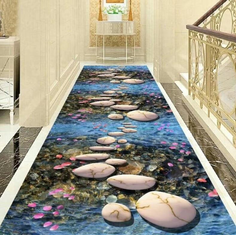 3D Floral Nordic Stair Carpet European Corridor Carpets Hotel Long Aisle Rug Home Entrance/Hallway Doormat Anti-Slip Floor Rugs