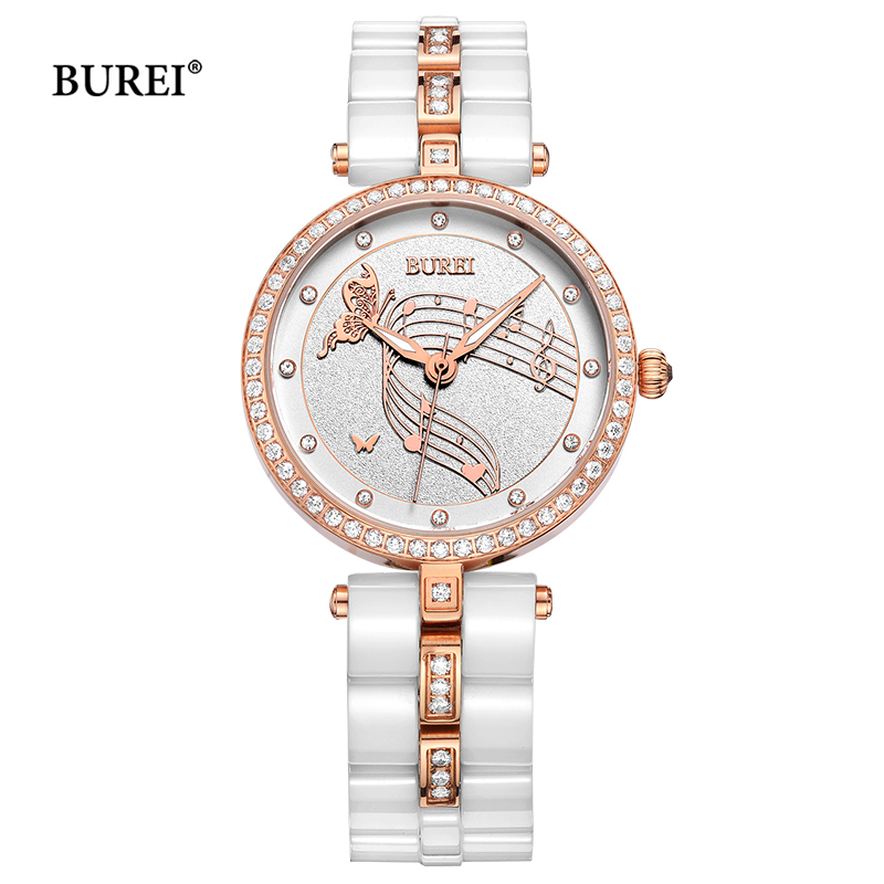 BUREI Brand Ladies Watches Waterproof Fashion Ceramic Bracelet Quartz Wrist Watch Clock Women Black Gold White Relogio Feminino new quartz watch weiqin band fashion white ceramic rhinestone watches women analog clock ladies watch reloje relogios feminino