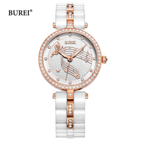 BUREI Brand Ladies Watches Waterproof Fashion Ceramic Bracelet Quartz Wrist Watch Clock Women Black Gold White Relogio Feminino