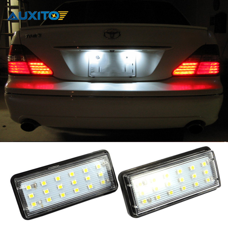 2PCS SMD3528 Number Plate Lamp Car LED License Plate Lights For Toyota Land Cruiser Prado Reiz 4D Mark X Lexus LX470 LX570 for lexus toyota corolla atis 2001 2007 led car license plate light number frame lamp high quality led lights
