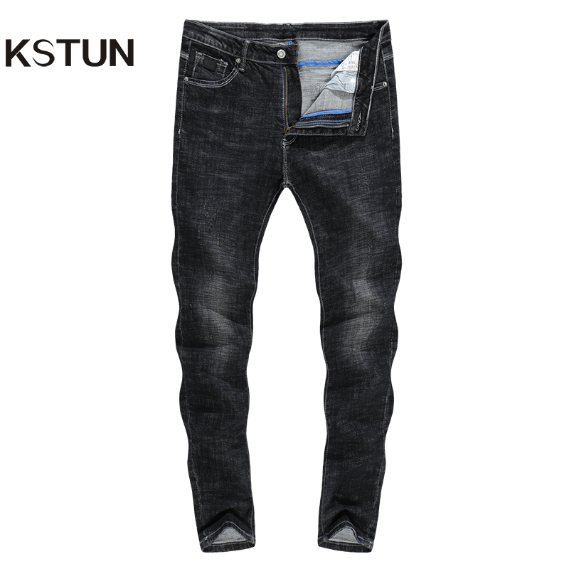 KSTUN Jeans Men High Quality Brand Solid Black Stretch Casual Slim Fit Skinny Pants Students Boys Young Man Trousers Male Hombre