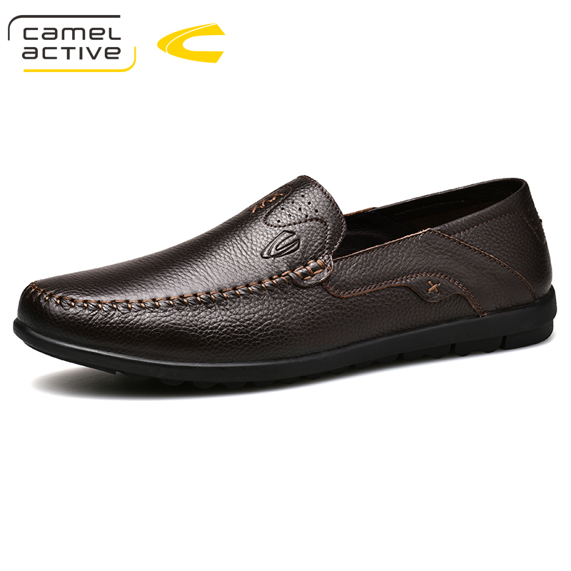 Camel Active 2018 Brand New Luxury Men Brown Loafers Patchwork Of Genuine Leather Casual Shoes Round Toe Slip On Dress Shoes