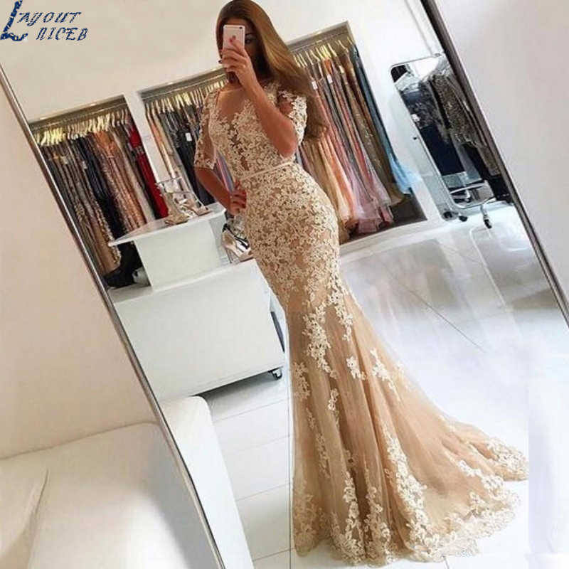 SDG103 Modest Custom Made Long Dress Mermaid Evening Dress 2020 Lace Appliques Robe De Soiree longue 2020 Formal Dress Popular