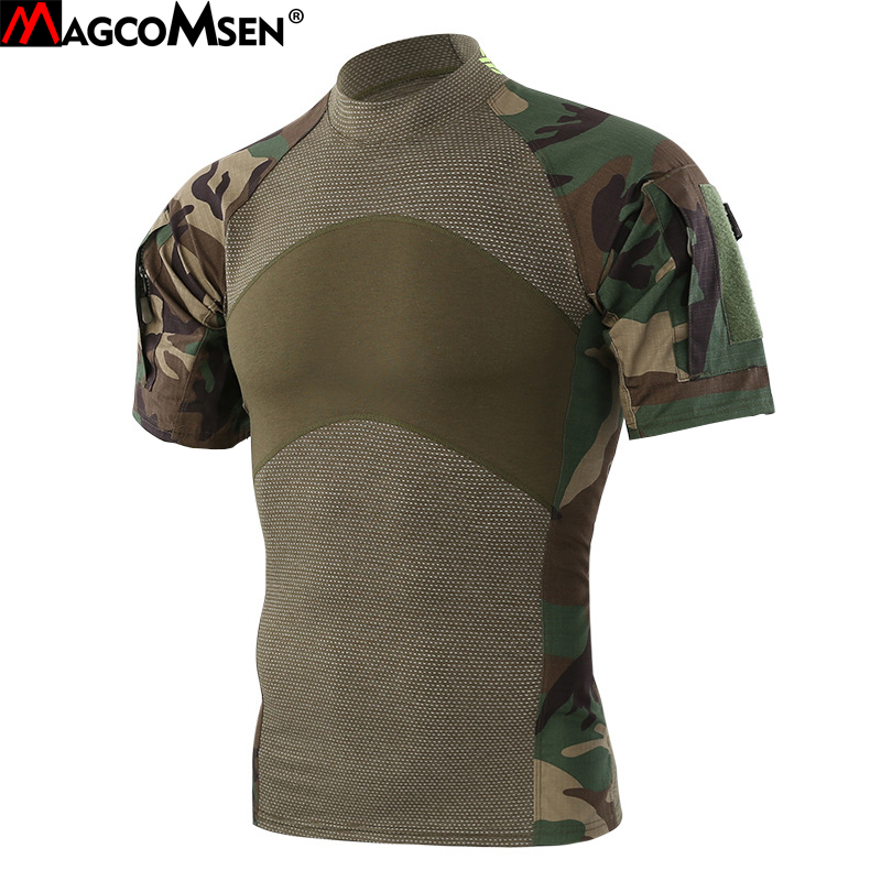 MAGCOMSEN Summer Tactical T-shirts Men Short Sleeve Cotton Military Army Combat T-shirts Airsoft Paintball Clothing AG-YWWS-020