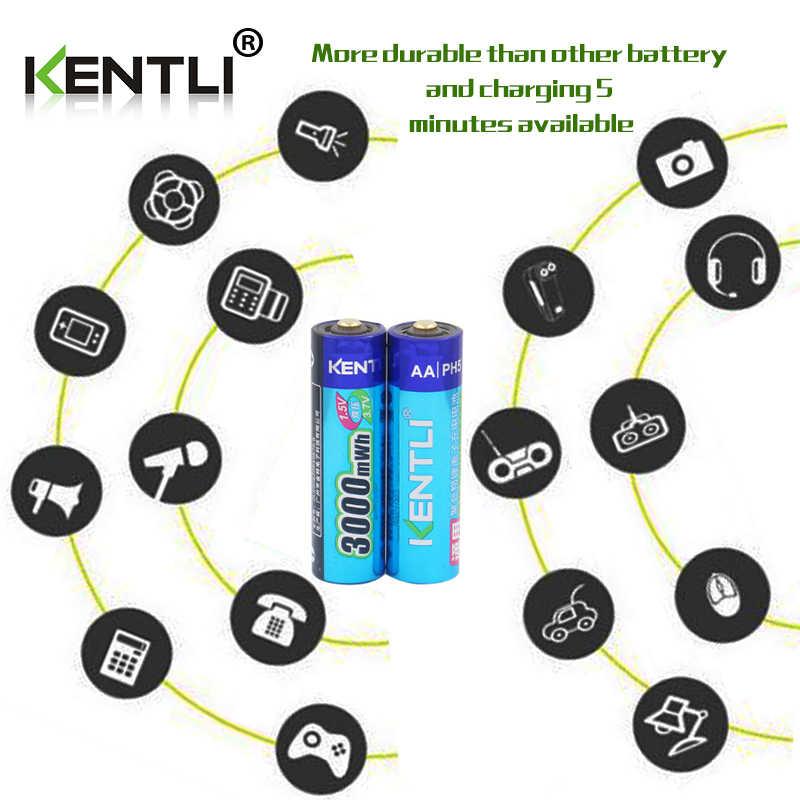 KENTLI 4 шт. с низким саморазрядом 1,5 в 3000mWh AA перезаряжаемый литий-полимерный литий-ионный полимерный литиевый аккумулятор + 1 USB умное зарядное устройство