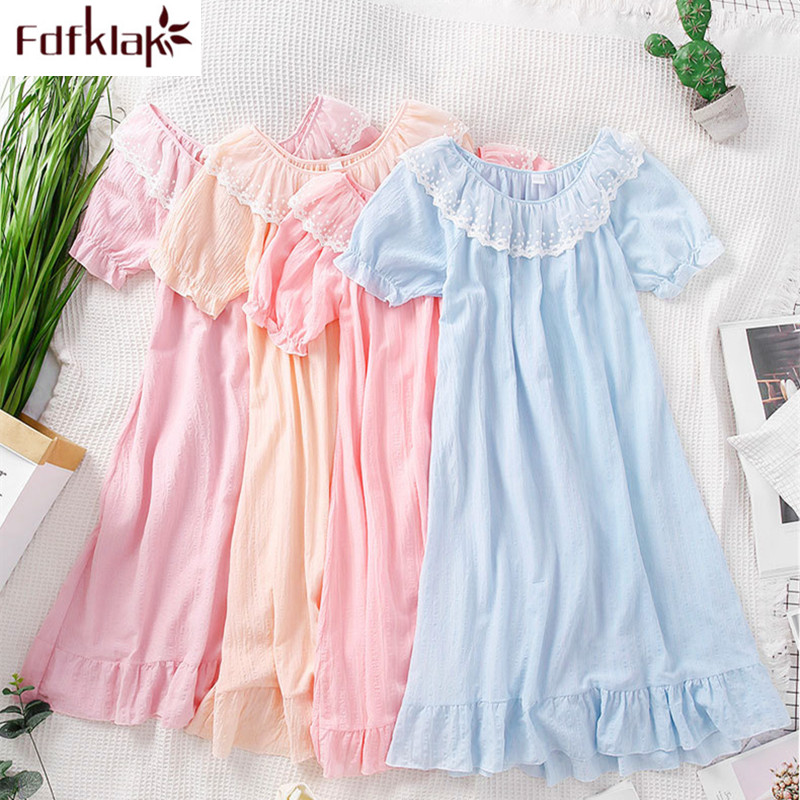 Large Size Loose Night Dress Women Nightgown Short Sleeve Cotton Nightdress Female Night Gown Sweet Princess Dress Nightshirt