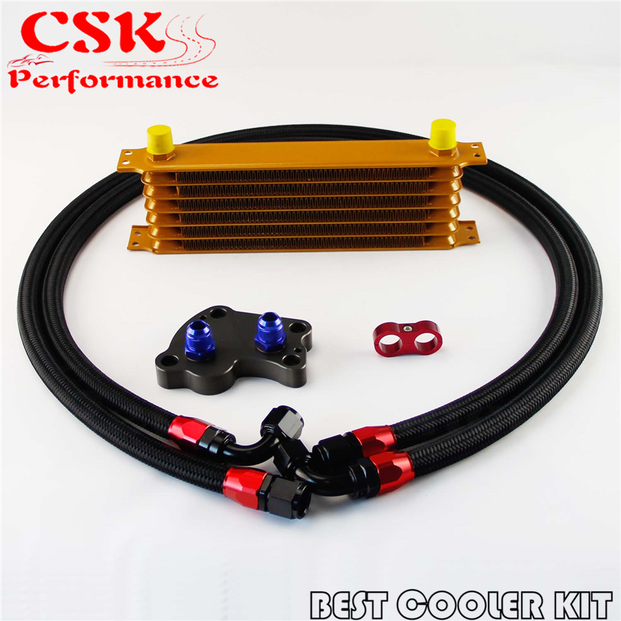 купить AN10 7 Row Trust Oil Cooler Kit Fits For BMW Mini Cooper S R53 Supercharger Gold по цене 3811.26 рублей