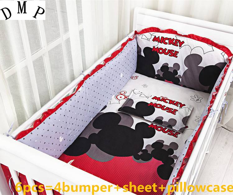 Promotion! 6PCS Cartoon cotton baby bed set,cotton crib bedding sets crib bed sets,bed around (bumper+sheet+pillow cover)