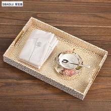Современная мода чайный поднос поднос с кофе с золотой узор Хранения Лотки для дома КТВ Бары кафе