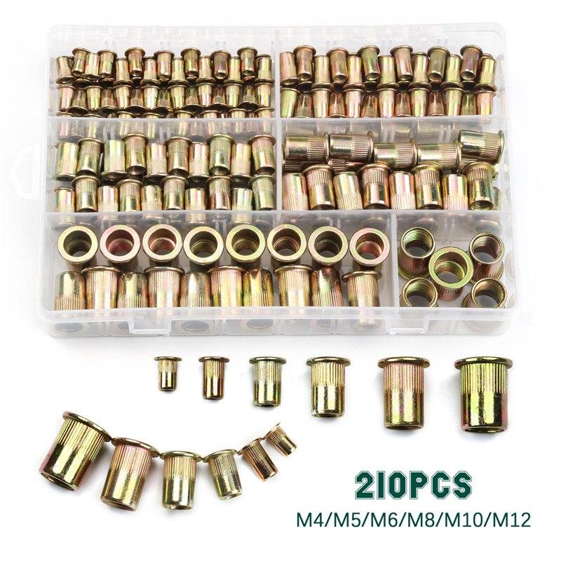210-165-100pcs-carbon-steel-rivet-nuts-m4-m5-m6-m8-m10-m12-flat-head-rivet-nuts-set-nuts-insert-reveting-multi-size-collocation