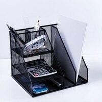 Biuro w domu pulpit biuro przechowywania stojak na ulotki organizator sortowania czarny siatki metalowej w Tacki na dokumenty od Artykuły biurowe i szkolne na