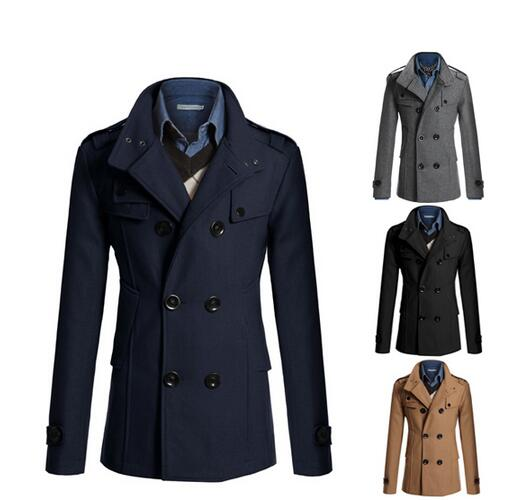 Winter Coat On Blends Fashion Pea M Double Mens Breasted Clothing amp; Size In Classic From Plus 3xl Men's Wool Stylish 0YqHP