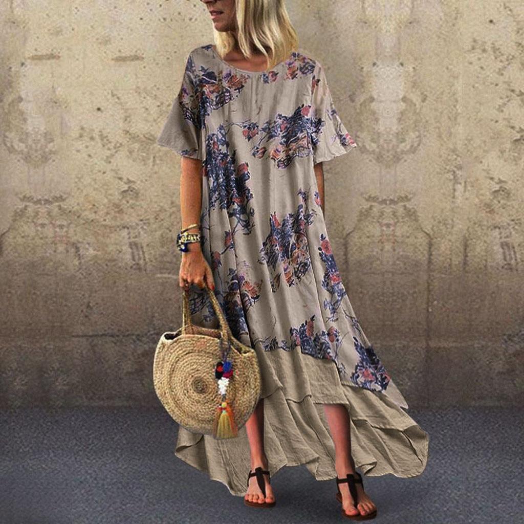2019 Summer Linen Dresses Women Boho Patchwork Short Sleeve O-Neck Maxi Dress Loose Plus Size Long Dress Vintage Vestidos Robe