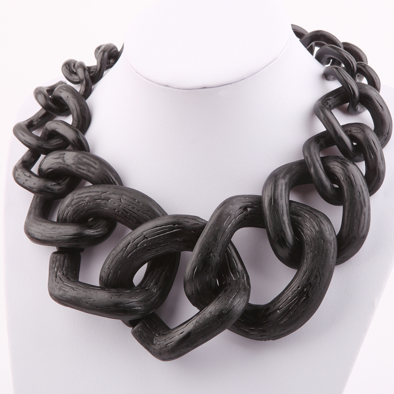 Trendy Jewelry costume necklace Big Chain Matte color chain necklace