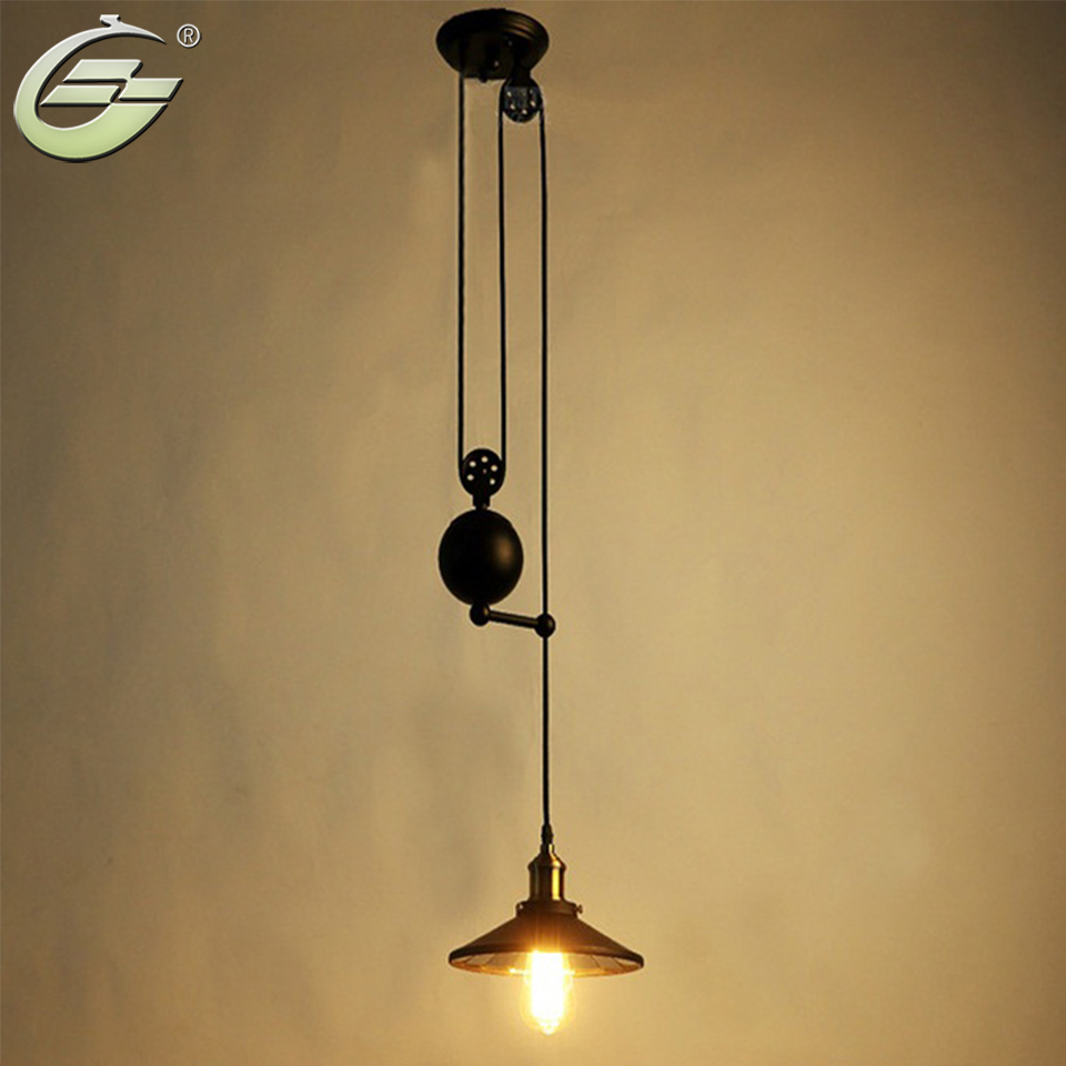 Retro Industrial Black Iron Pulley Pendant Light with Mirror Bar Pub Home Decoration Lamp E27 Edison Bulbs Lighting Fixtures pulley pendant lamp light retro loft vintage industrial pulley pendant lamp industrial home lighting fixture e27 edison bulbs