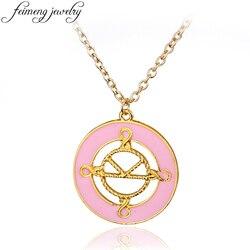 feimeng jewelry Kingsman Necklace Charm Pink Enamel The Secret Service Pendant Necklace For Women Fashion Accessories