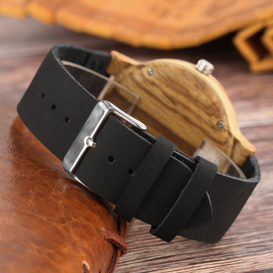 Retro Wood Watch Men Unique Navy Dial Bamboo Watches Black Leather Military Sports Clock Male Quartz Wrist Watch Reloj Hombre 2018 2019 (8)