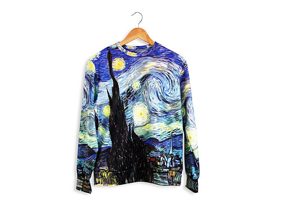 Unique unisex t-shirt with full print of painting Van Gogh