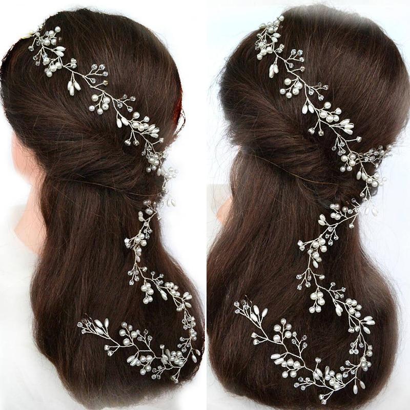 Princess Bride Pearl Headband Hair Accessories Rhinestones Pearl Headband For Wedding Headdress Jewelry 80/100/150 cm