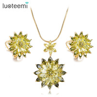 LUOTEEMI Brand 2018 Hot Sale Luxury New Fashion Oliver Green & Purple CZ Big Necklace Earrings Set Jewerly for Women Dress Party