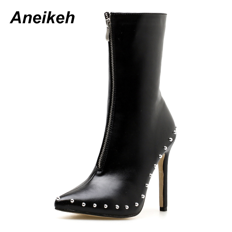 Aneikeh 2019 New Spring & Autumn Size 35-42 Pointed Toe Zip Womens Boots  Metal Decoration Sexy Rivet High Heels Ladies Boots Aneikeh 2019 New Spring & Autumn Size 35-42 Pointed Toe Zip Womens Boots  Metal Decoration Sexy Rivet High Heels Ladies Boots