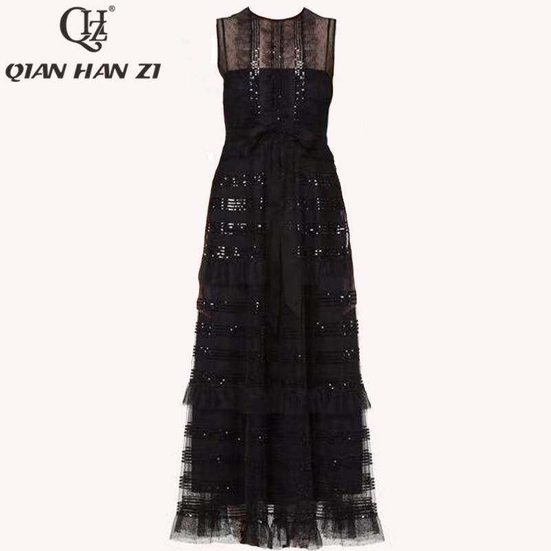 Qian Han Zi 2019 Newest Summer Designer Runway Maxi Dress Women's Sleeveless Sequined Lace Retro Black Party Long Dress