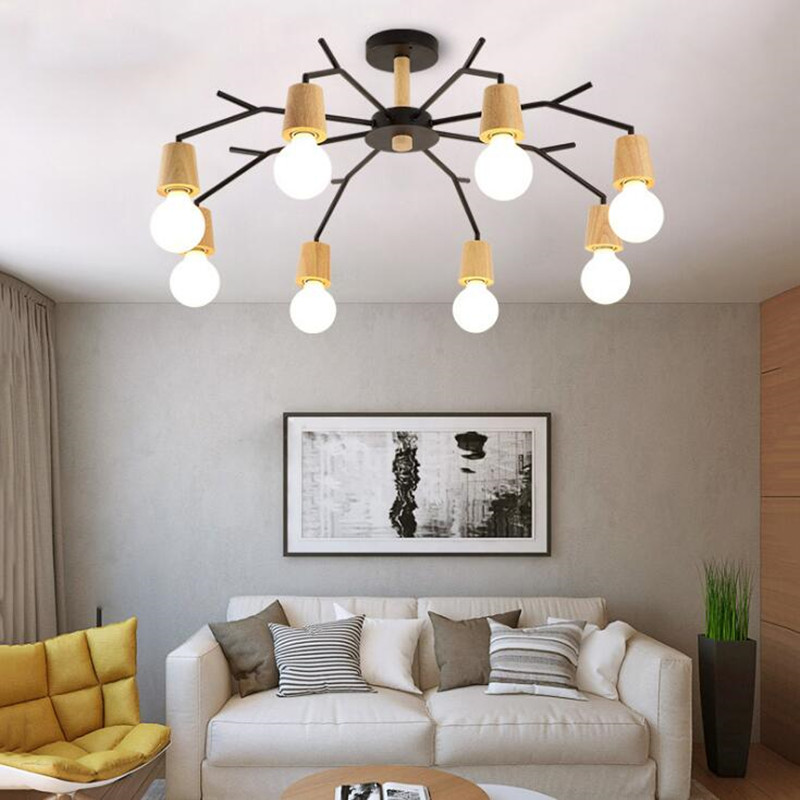 Nordic Post Modern Bed Living Room LED Pendant Lights Creative Personality Wood Minimalist Dining Room Study Decor Lamp Fixtures nordic modern 10 head pendant light creative steel spider lamps unfoldable living room dining room post modern toolery led lamp page 1