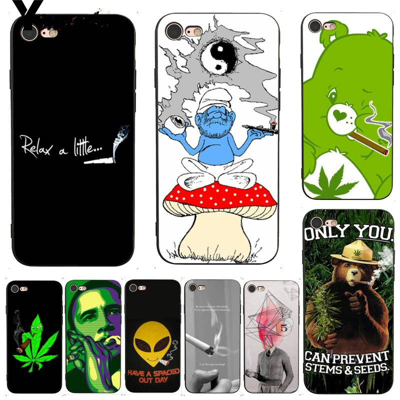 Yinuoda Weed Smoking Bling Popular Soft Phone Case for iPhone X 6 7 6s 7plus 8 8Plus 5 XS XR SE Case11 11pro 11promax in Half wrapped Cases from Cellphones Telecommunications