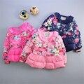 Baby Girl Floral Inverno Para Baixo Jaquetas Xmas Crianças Quente Casacos de Lã de Algodão Acolchoado Roupas Crianças Veludo Engrossar Parkas Outerwear