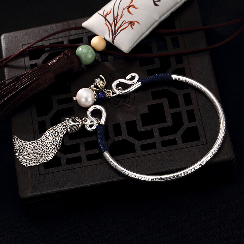 2018 Fashion, Silver, S999, Pure Silver, Antique, Heart, And Tassel, Pearl Ladies' High-end Open Silver Bracelet Bracelet. antique silver coin tassel anklet 1pc