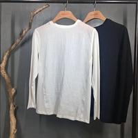 Mens Casual T Shirt Basic Tee White Black Long Sleeve O Neck Linen Cotton Chinese Japanese
